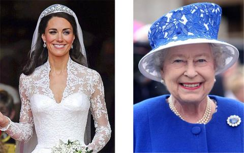 Kate Middleton Wedding Dress in Lace. The Queen in Blue Lace Hat.