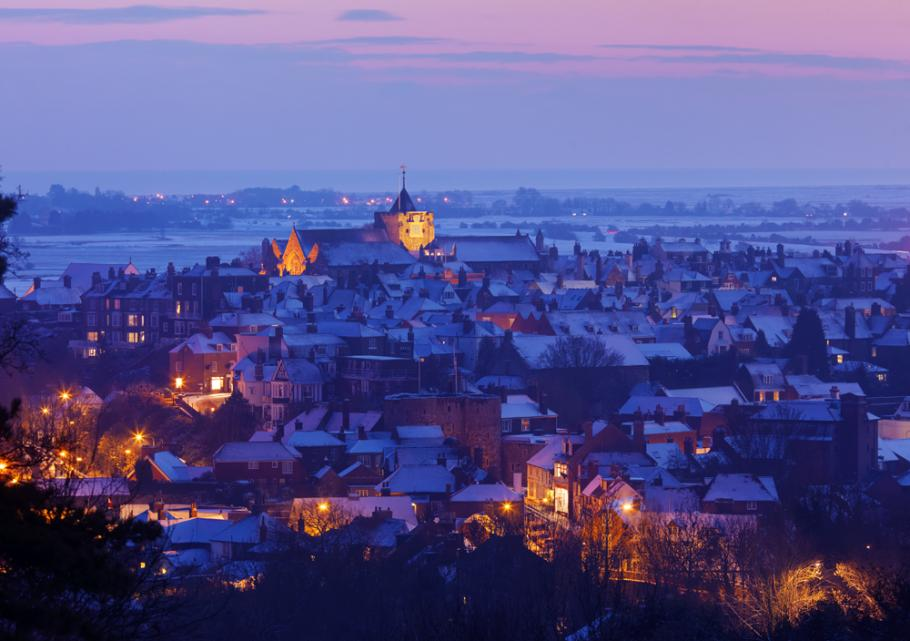 View of Rye at Winter. Twilight.