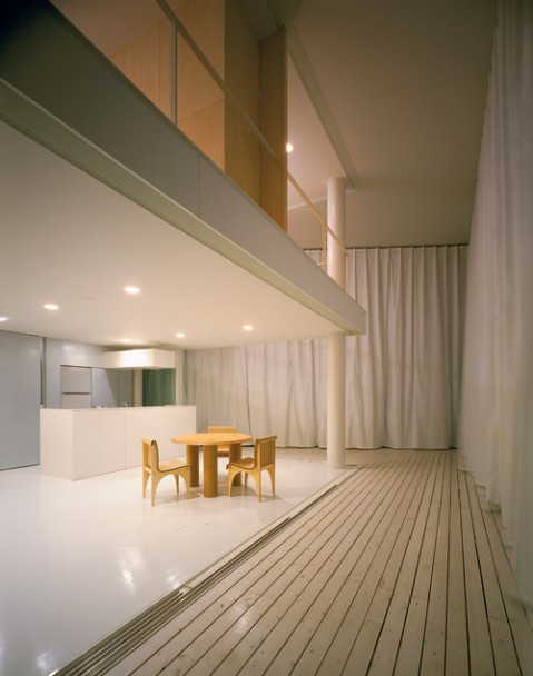 Shigeru Ban: Curtain Wall House, 1995, Tokyo, Japan . Contemporary living space