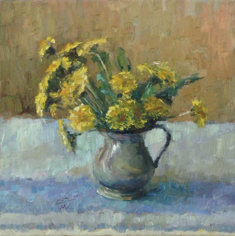 Still Life with Dandelions in a Puter Jug