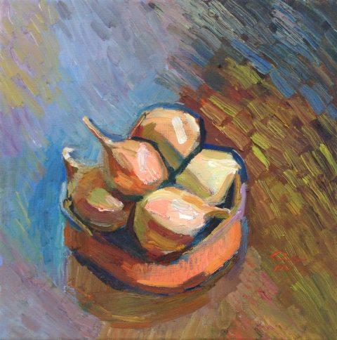 Still Life with Onions. Oil on canvas. Marina Kim