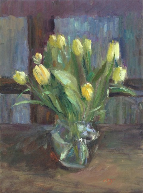 Still life with Tulips in a Jar by artist Marina Kim